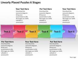 Linearly Placed Puzzles 6 Stages Work Process Flow Chart