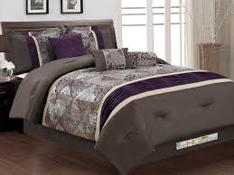 7 pc fl damask jacquard patchwork pleated comforter set coffee brown purple beige king com