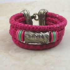 charming pink leather cuff bracelet for a woman