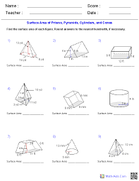 prisms pyramids cylinders cones surface area worksheets