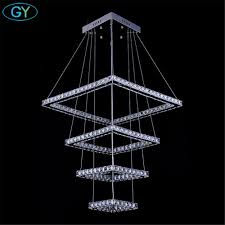 Square Led Pendant Light Us 450 0 Modern Crystal Led Ceiling Pendant Lamp Stainless Steel Fixture Light For Home 138w Big Square 4 Rings Lustres Led Pendant Lamp In Pendant