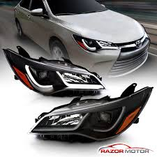 2017 Toyota Camry Led Fog Lights Details About Led Tube Bar For 2015 2017 Toyota Camry Plank Style Black Projector Headlights