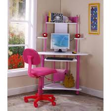Low Cost Pink And White Corner Computer Kids Desk And Roller Chair Set For  Girls