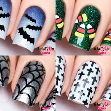 Nail Art Spider Web Design Halloween Nail Vinyl Stencils 4 Pack Spider Web Crosses Candy Corn Bats For Nail Art Design