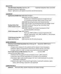 free agriculture resume template