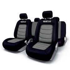 seat cover set sparco black grey 11
