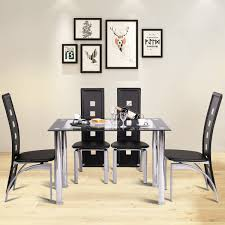 Costway Costway Modern Dining Table Tempered Glass Top Steel Frame
