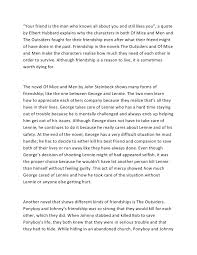 Of Mice And Men Friendship Essay Essay On Of Mice And Men Friendship