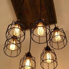 wooden chandelier lighting. Cage Light Chandelier Lighting Industrial Bulb Wood Rustic Wooden S