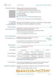 Europass Resume Format Dtk Templates
