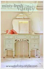 minty fresh vanity, painted with custom mix of MMS milkpaint in Lucketts  Green, Eulalie's Sky and Grain Sack.
