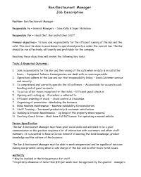 Bar Staff Job Description Bar Restaurant Manager Job Description Templates At