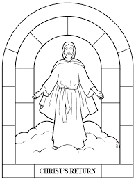 Small Picture Christ Returns in a Cloud Coloring Page