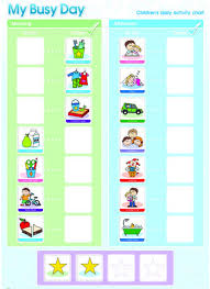 My Busy Day Childrens Activity Chart