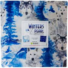 "WINTER'S PEARL WOLF Bear Snow Cotton Fabric 10"" Layer Cake 42 Squares  Benartex - $37.50 | PicClick"