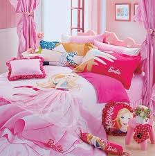comfortable bed with light pink bed cover and alluring barbie