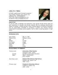 Sample Resume For Secondary Teacher In The Philippines Resume