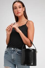 Cute Black Bag - <b>Bucket Bag</b> - <b>Crocodile</b>-Embossed Bag