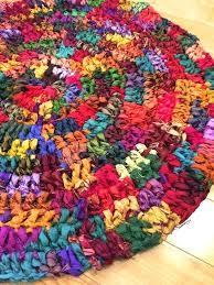 sari silk ribbon pure rug hand crocheted funky bright handmade rugs reviews