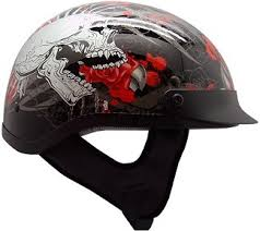 tms rose skull motorcycle half helmet biker dot approved