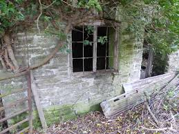 old window frame in a ruined cottage near pentre willey