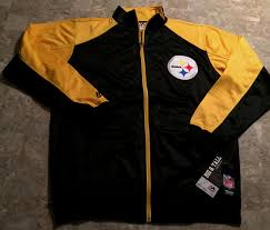 Details About Pittsburgh Steelers Full Zip Track Jacket Medium Tall Black Two Sided Logos Nfl