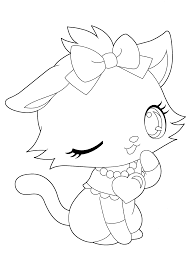 Jewelpet Funny Kitty Coloring Pages For