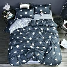 grey stars stripes bedding set polyester super soft duvet cover flat sheet pillowcase full queen size