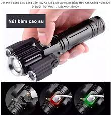 Đèn Pin 3 Bóng Siêu Sáng Cầm Tay Ks-738 Siêu Sáng Làm Bằng Hợp Kim Chống  Nước Khi Đi Dưới Trời Mưa - 3 Mắt Xoay 360 Độ