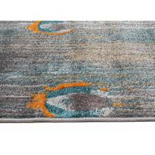 peacock feather austin rug grey blue rust side image