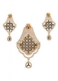 fashion jewellery antique gold american diamond designer pendant set indian silk house