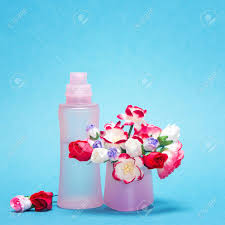 Paper Flower Perfume Floral Fragrance Pink Glass Perfume Bottle And Bouquet Of Small