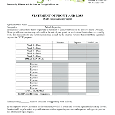 Loss And Profit Form Profit And Loss Statement Template For Small Business