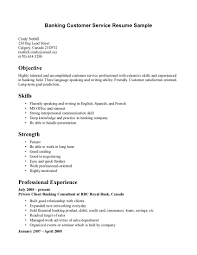 Banking Customer Service Sample Objective And List Of Skills And