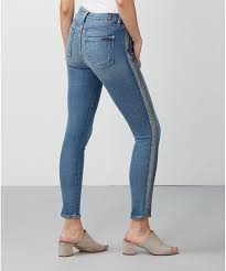 7 For All Mankind Muse Glitter Side Stripe Ankle Skinny Jeans Women