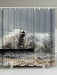 waterproof fabric surge lighthouse shower curtain gray w71 inch l79 inch