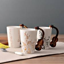 office mugs. Acoustic Guitar Ceramic Coffee Mugs Creative Music Note Milk Tea Cups Home Office Novelty