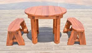 round patio table options 3 5 ft 2 round benches redwood
