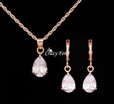 trendy free wedding jewelry sets necklace earrings rose gold color women heart pendant necklace cz