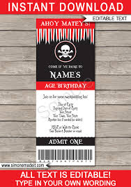 Pirate Party Ticket Invitation Template | Pirate Birthday Party Invite