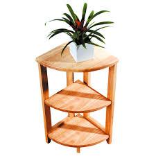 premier 3 tier natural solid wood corner unit side coffee table shelf organizer