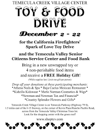 toy and food drive flyer temecula creek village center toy and food drive flyer