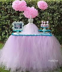 Round Plastic Table Covers With Elastic No Sew Tulle Table Skirt Catch My Party