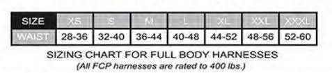 Fall Protection Harness Size Chart Frenchcreek Harness With Life Jacket