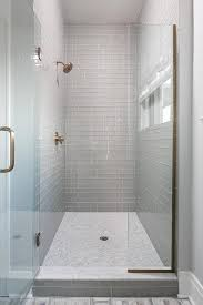 subway tile walk in shower. Contemporary Subway Walk In Shower With Gray Glass Subway Tiles And White Marble Grid Floor With Tile E