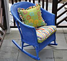 spray painted brightly colored wicker patio furniture makeover