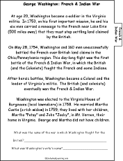 george washington a printable book french and n page  french and n