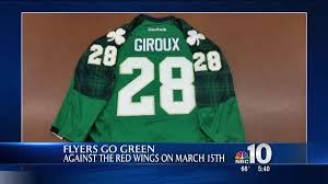 flyers green jersey flyers go green in honor of st pattys day nbc 10 philadelphia