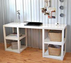 chic ikea micke desk in white with rack on wooden floor for study room decor ideas chic ikea micke desk white