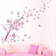 pink erflies wall stickers flowers